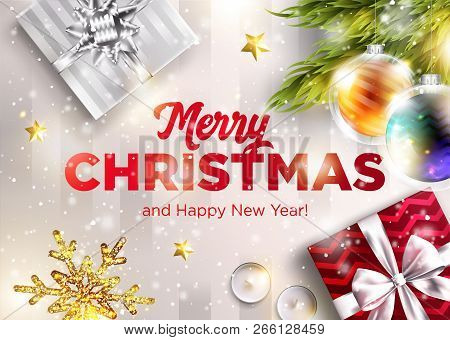 Merry Christmas Vector Greeting Card. Happy New Year 2019 Graphic Design Template. Holiday Scene Wit