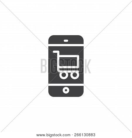 Online Shop Vector Icon. Filled Flat Sign For Mobile Concept And Web Design. Mobile Phone With Shopp