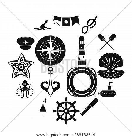 Nautical Icons Set. Simple Illustration Of 16 Nautical Icons For Web