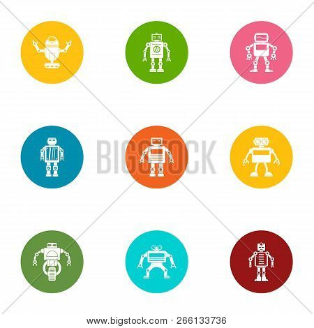 Bot Icons Set. Flat Set Of 9 Bot Icons For Web Isolated On White Background