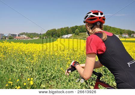 Girl riding a mountain bike
