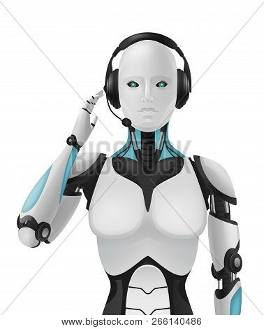Robot Android Realistic 3d Composition With Artificial Support Agent Cybernetic Anthropomorphous Mac