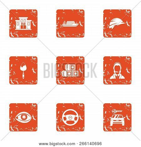 Municipal Economy Icons Set. Grunge Set Of 9 Municipal Economy Icons For Web Isolated On White Backg