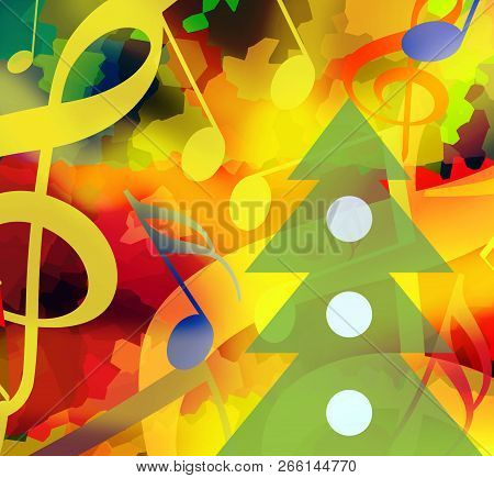 Christmas Background With Dancing Music Notes And Christmas Tree