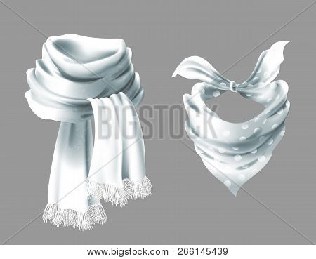 3d Realistic Silk White Scarf. Fabric Cloth Of Dotted Neckerchief. Gray In White Peas Bandana, Outer