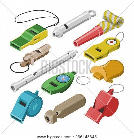 Whistle Vector Coach Whistling Sound Tool And Blowing Equipment Of Referee Judging Game Illustration