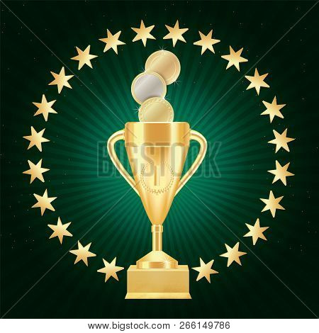 Golden Realistic Trophy Cup Or Goblet With Number One, Laurel Wreath, Gold Stars On Textured Gilded