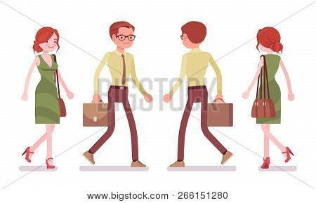 Male And Female Clerk Walking. Young Man And Woman, Employee Busy With Message Delivery, Go At Work.