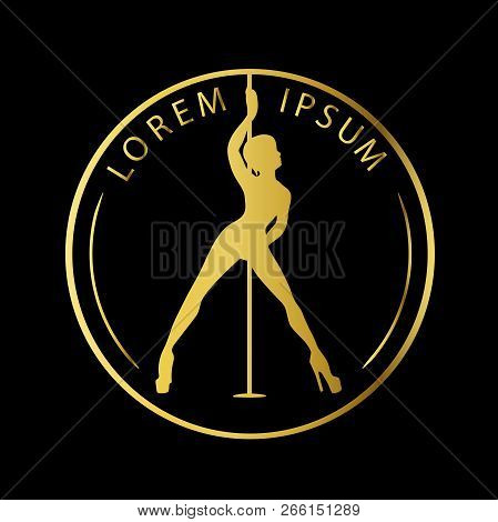 Gold Logo For Dance Studio, Pole Dance, Stripper Club. Silhouette Pole Dance On A Black Background.
