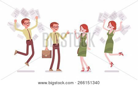 Male And Female Clerk Positive Emotions. Young Man And Woman In Good Mood, Fun For Employee, Enjoy E