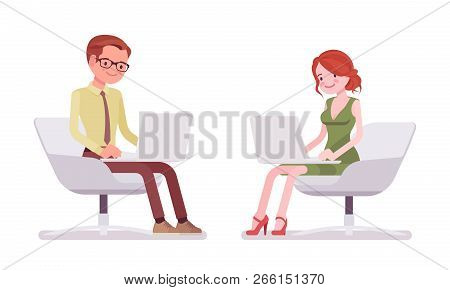 Male And Female Clerk Sitting And Working. Young Man And Woman Mailing And Filing Correspondence At