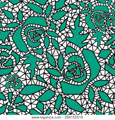 Green Abstract Seamless Lace Pattern Texture White Background