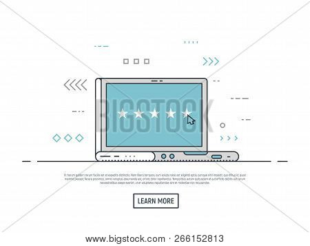 Laptop With Five Stars And Mouse Cursor. Review And Rating Concept Illustration. Customer Evaluation