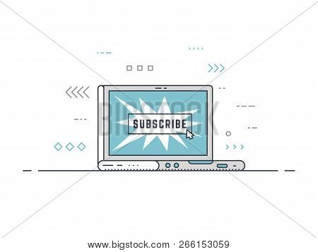 Laptop With Subscribe Button And Mouse Cursor Clicking On It. Subscriber Concept Illustration. Thin