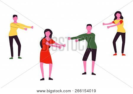 Young People Dancing Popular Floss Dance Flat Style