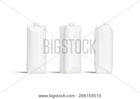 Blank White Prisma Juice Pack With Lid Mockup Set, Different Sides, 3d Rendering. Empty Milk Pack Mo