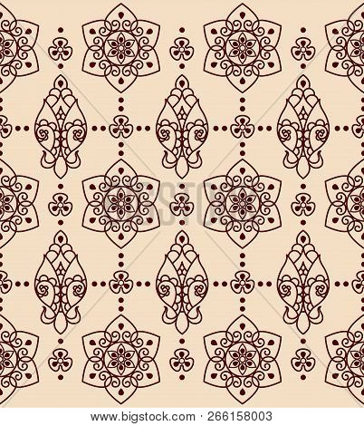 Decorative Floral Ornament On A Beige Background