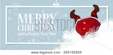 Cute, Funny Santa Claus Cartoon Character Hanging Upside Down In Snowdrift. Vector Illustration. Hor