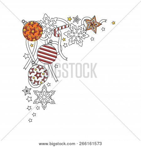 new year frame border with doodle snowflakes fir tree balls ribbon decorative border