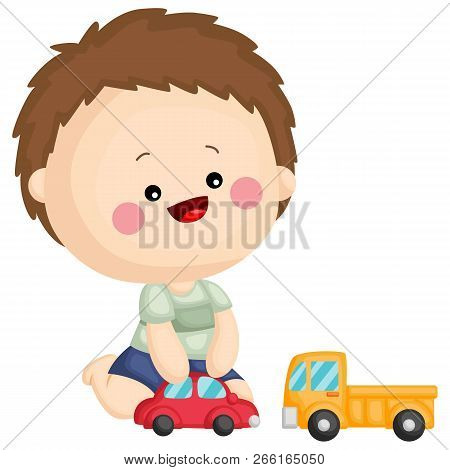 A Kid Playing With His Toy Car And Toy Truck