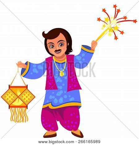 Diwali Holiday Celebration And Man With Lantern