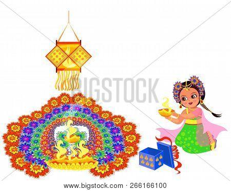 Diwali Holiday With Girl Putting Flame To Rangoli