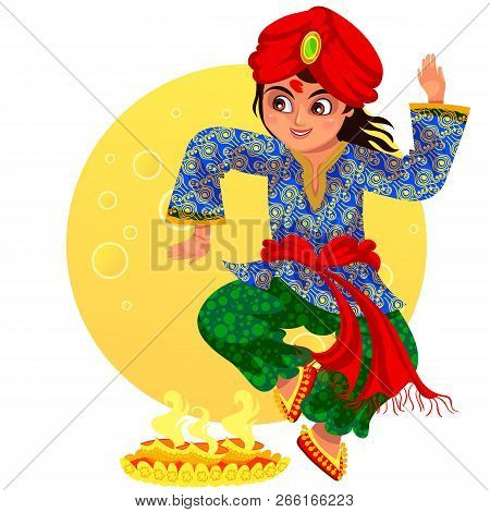 Diwali Holiday And Boy Showing Ritula Dance