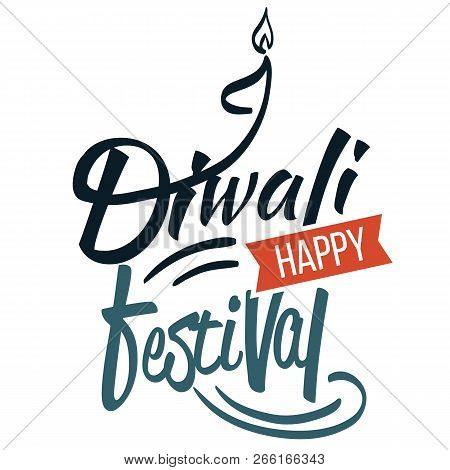 Diwali Religious Hindu Holiday Emblem With Candle