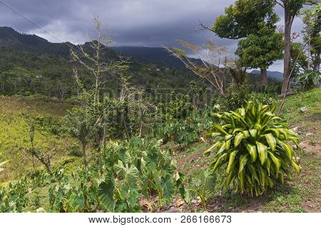 Mountain Range Of Cordillera Central Under Storm Clouds And Sunny Hillside Overlooking Valley In Jay