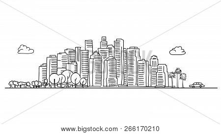 Generic City Skyline With Various Trees. Vecor Illustration.
