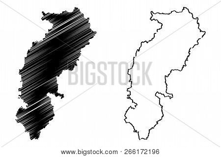Chhattisgarh (states And Union Territories Of India, Federated States, Republic Of India) Map Vector
