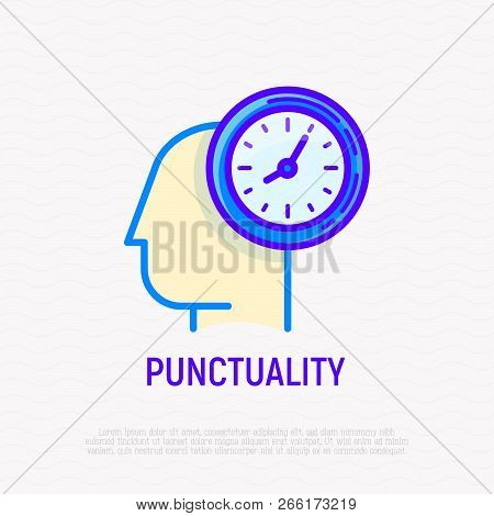 Punctuality, Time Management Thin Line Icon. Silhouette Of Human Head With Watch. Modern Vector Illu