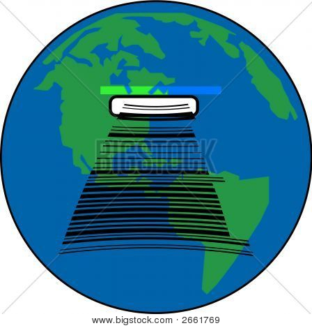 Earth With Barcode Slot