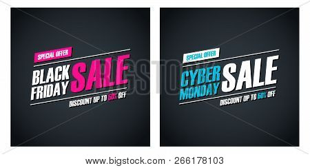 Black Friday Sale And Cyber Monday Sale Special Offer Promotional Cards For Business, Promotion And