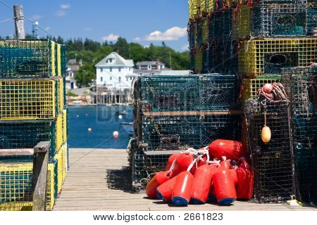 Lobster Traps And Buoys