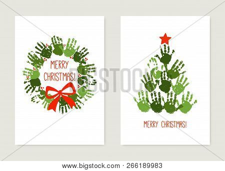 Handprint Christmas Tree With Red Star. Handprint Christmas Wreath With Red Bow. Christmas Hand Prin