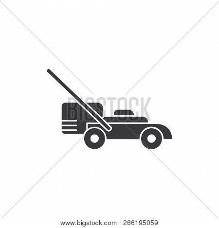 Mower Machine Vector Icon On White Background. Mower Machine Icon In Modern Design Style. Mower Mach
