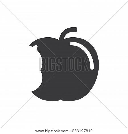 Apple Big Bite Vector Icon On White Background. Apple Big Bite Icon In Modern Design Style. Apple Bi