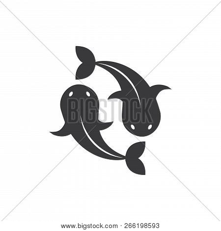 Two Golden Carps Vector Icon On White Background. Two Golden Carps Icon In Modern Design Style. Two