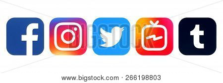 Kiev, Ukraine - August 16, 2018: Collection Of Popular Social Media Logos Printed On White Paper: Fa