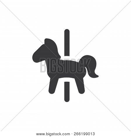 Carousel Horse Vector Icon On White Background. Carousel Horse Icon In Modern Design Style. Carousel