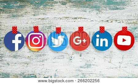 Kiev, Ukraine - September 27, 2018: Popular Round Social Media Icons Such As: Facebook, Twitter, Ins