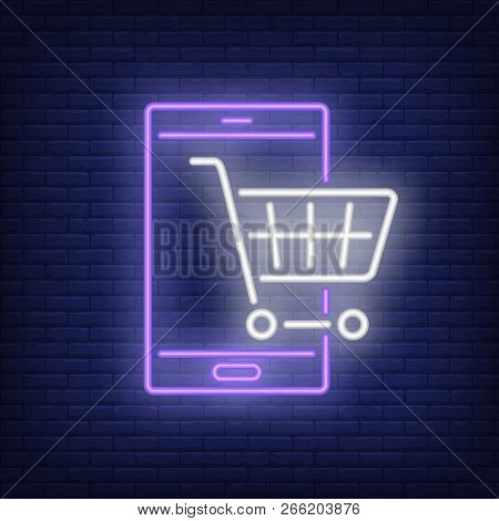 Shop Cart And Mobile Phone Neon Sign. Illustration Of Mobile Phone With Hand Cart On Dark Brick Blue