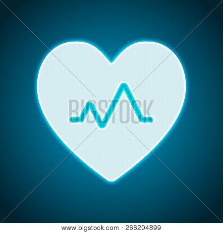 Cardiac Pulse. Heart And Pulse Line. Simple Single Icon. Neon Style. Light Decoration Icon. Bright E
