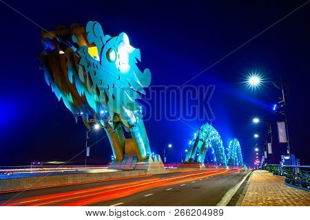 Da Nang, Vietnam - September 30: The Dragon Bridge (cau Rong) With Blue-colored Illumination At Nigh
