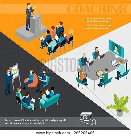 Isometric Business Coaching Colorful Template With Businessman Speaking At Podium Staff Online Train