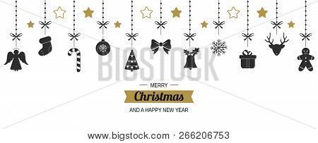 Hanging Christmas Decorations. Christmas Background With Reindeer, Gingerbread Man, Gift, Angel, San