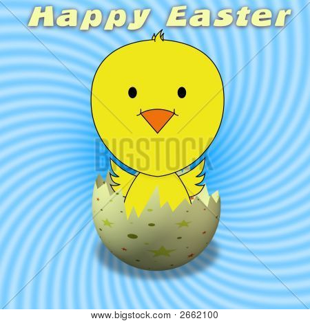 Illustration of a chick bursting from a decorated egg with the words happy easter above its head poster
