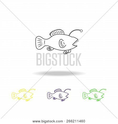 Angler Multicolored Icons. Element Of Popular Sea Animals Icon. Premium Quality Graphic Design Outli