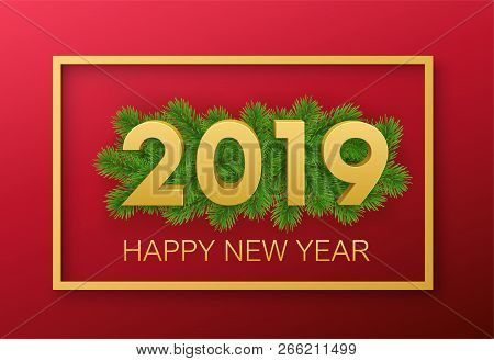 2019 happy new year background decoration greeting card design template with christmas tree branche